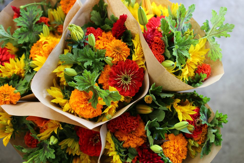 Bright mixed flower bouquets