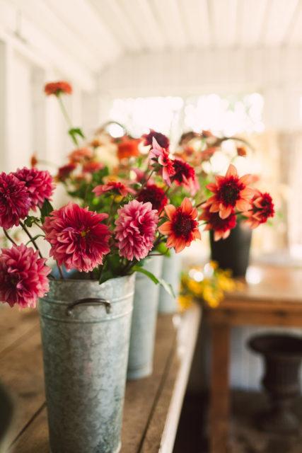Buckets of flowers in the Floret studio