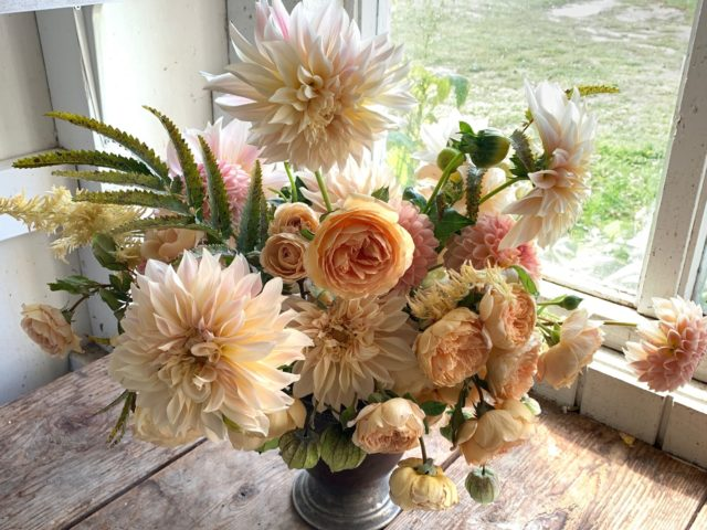 A Year in Flower bouquet with dahlias and roses