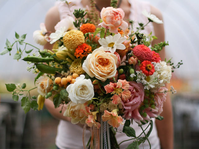 Beautiful bouquet of blush and sherbet toned roses, cosmos, and zinnias plus garden peas