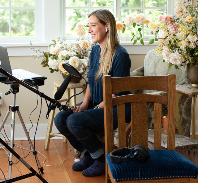Erin Benzakein filming an interview with Marie Forleo