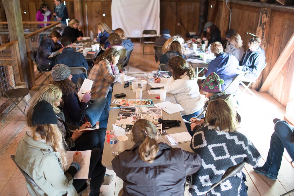 A group of students working on their vision boards at an on-farm Floret workshop