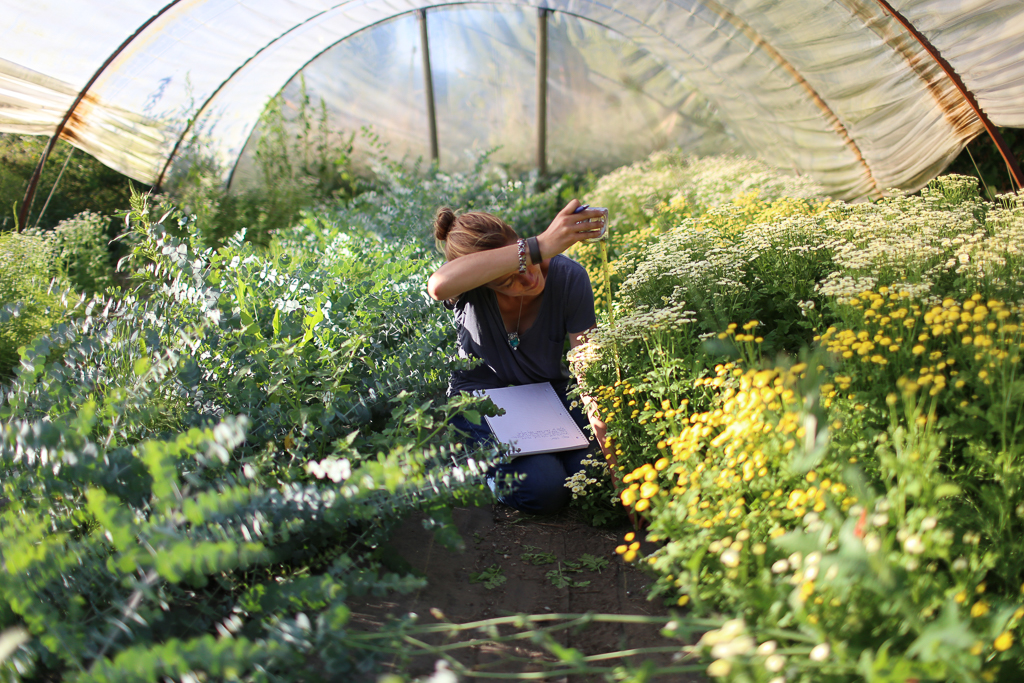 Erin Benzakein writing notes in a hot Floret hoophouse