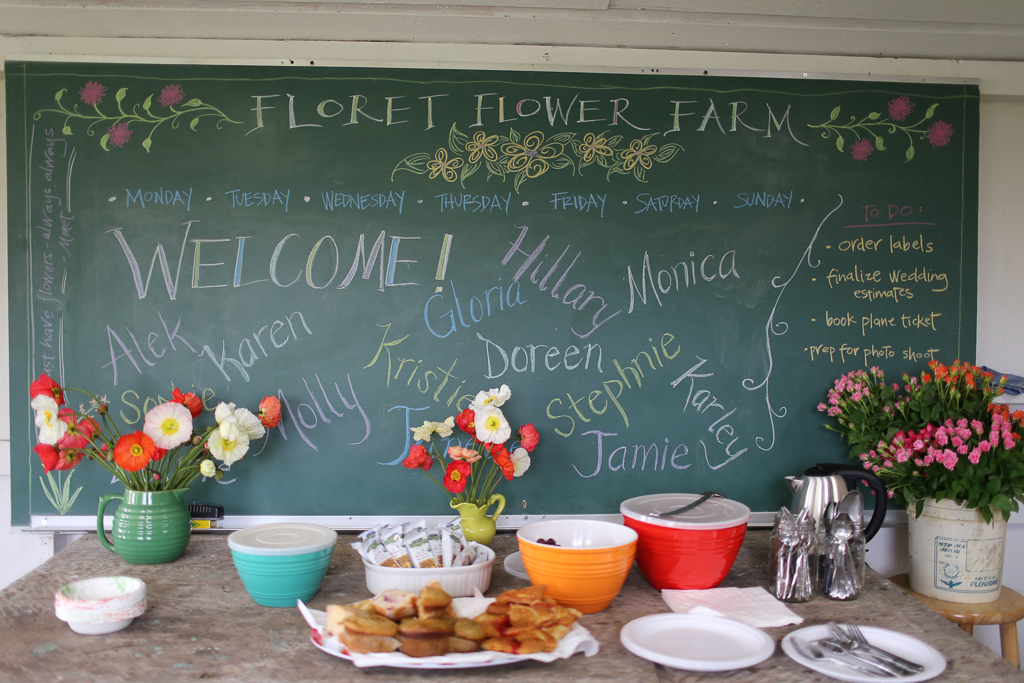 Welcome chalkboard at one of the first on-farm Floret workshops