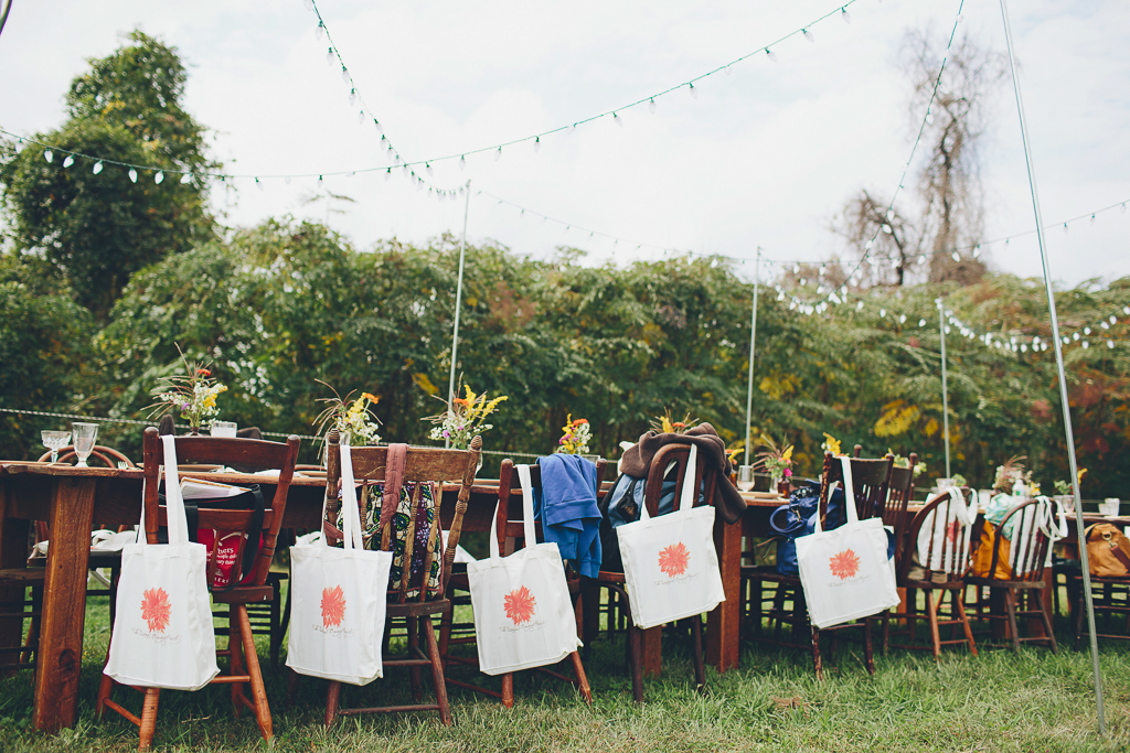 Outdoor table at a flower workshop by Jennie Love and Erin Benzakein